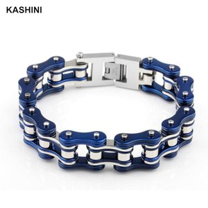 Wholesale chain link machine for sale - Group buy Blue Couple Bracelet Motorcycle Chain Punk Bicycle Men s Stainless Steel Machine Link