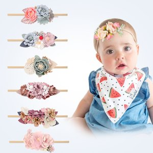 Wholesale handmade infant headbands for sale - Group buy 20pcs baby flower traceless hairhand Hairbands infant newborn Fashion handmade Mosaic princess D Headbands colors Photo Props Hair Accessories