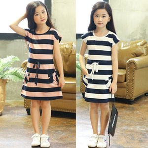 Wholesale teens girls clothes for sale - Group buy Girl s Dresses Kids Es for Cotton Striped Casual Girls Summer Year Children Toddler Teen Clothing