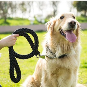 ingrosso cane collare intrecciato-Nylon intrecciato grande cane guinzaglio in metallo P in fibbia a catena a catena collari set golden retriever husky medio trazione corda durata