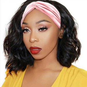 Wholesale brazilian body wave bob hairstyles for sale - Group buy Body Wave Bob Cut Machine Made Headband Wigs Brazilian Remy Natural Color Density Glueless Wig