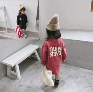 Wholesale t girls dresses resale online - SK Kids Girls Long Sleeve Cotton Letters Printed Dresses Years Simple Loose Casual T Shirt Dress Clothes