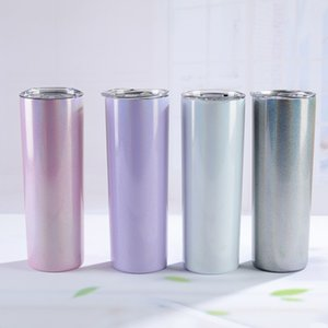 Wholesale stainless steel paints for sale - Group buy 20oz Sublimation Water Bottles Rainbow Paint Insulated Skinny Tumblers Glitter Taper Stainless Steel Beer Coffee Mug With Straw