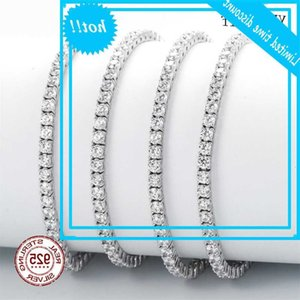 Wholesale designer sterling silver bracelets resale online - Classic inch tennis bracelets Real jewellery Mm Mm A Zironia Eternal wedding vowel Luxury sterling Silver bracelet