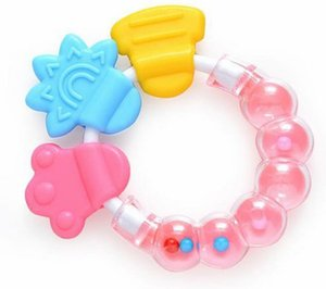 Wholesale baby ring rattles resale online - Silicone Tooth Gum New baby Teething Toy Circle Ring Baby Rattles Biting Toy Kid Cute Toy Baby Infant Bell Molar Rod EEB3989