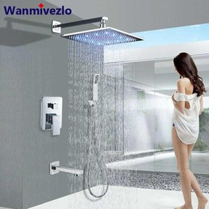 Wholesale led bathroom faucets set resale online - Wall Mount Bathroom Rain Shower Faucets Set Concealed LED Light Chrome Shower System Bathtub Mixer Faucet Tap Mixer Valve
