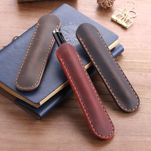 Wholesale pencil handmade pen resale online - Handmade Genuine Leather Pencil Bag Cowhide Fountain Pen Case Holder Vintage Retro Style Accessories for Travel Journal