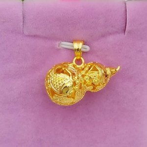 Wholesale gold fish plant resale online - necklace Gold Plated hollow lotus fish gourd pendant brass vacuum plating imitation gold head women s Pendant