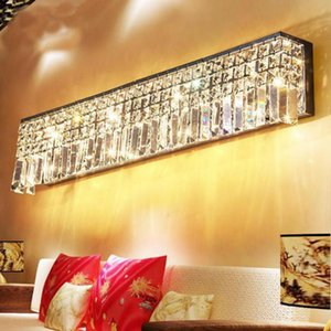 Wholesale modern restaurant wall decor resale online - Luxury Modern Top K9 Staircase Crystal Long Wall Sconce Light Rectangle Lamp For Living Room Bedroom Restaurant Cafe Decor Lamps