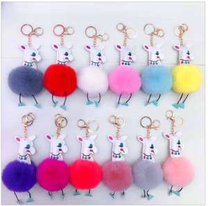Wholesale pompom keychain faux fur for sale - Group buy Alpaca Pompom Keychain Cute animal Key fobs Charm Faux Fur Fluffy Fuzzy Keyring Jewelry for Women Bag Pendant Accessories Gift Kimter P114FA