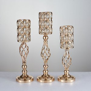 Wholesale wedding decorative candelabra for sale - Group buy Metal wedding props Golden Candle Holders Hollow Table Candelabra Centerpiece Flower Rack Road Lead Home Decor G792