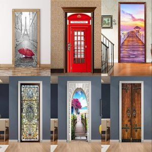 Wholesale wallpaper door murals for sale - Group buy PVC Mural Paper Print Art D Bookshelf Tower Sea Door Stickers Home Decor Picture Self Adhesive Waterproof Wallpaper For Bedroom V2