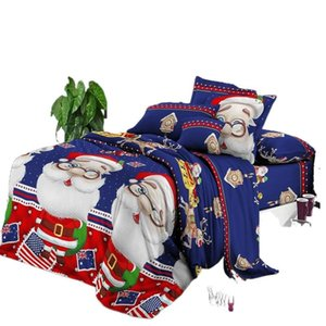 Wholesale red blue king size bedding resale online - Bedding Sets D Santa Claus Pattern Duvet Cover Set Merry Christmas Red Blue green Comforter Bed Queen King Size