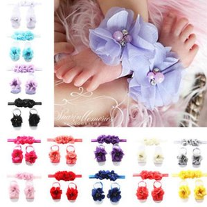 Wholesale baby headbands sandals sets for sale - Group buy Baby Girls Flower Headbands Newborn Girl Barefoot Sandals Headband Sets Foot Floral Ornament Photography Props Summer Hair Accessories D5709