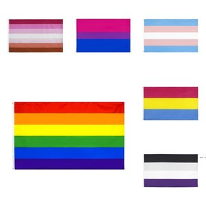 regenbogenfahnen großhandel-6 Farben Regenbogen Flagge cm Lesben Bisexuelle Pansexuelle Gay Pride Polyester LGBT Party Supplies Rainbows Flags DHD5591