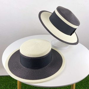 Wholesale top hat shop resale online - British straw sunshade top female stitching summer flat edge travel shopping hat
