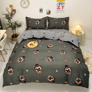 Wholesale queen size bedding sets for kids resale online - Cartoon Bedding Set Single Bed Cover Sets Doggy Printed Duvet Sheet And Pillowcase For Kids Double Queen Size