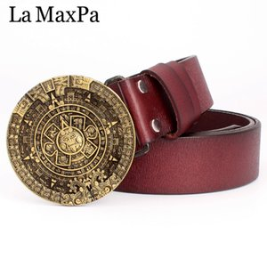 Wholesale mayan calendar resale online - Mens fashion belt round buckle aztec sun calendar pattern cowskin leather Mayan aztec personality gift belt for men