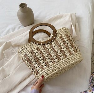 Wholesale gold striped straws for sale - Group buy Factory women handbag romantic holiday woven summer beach bag large striped fashion handbag elegant atmosphere straw beach bag
