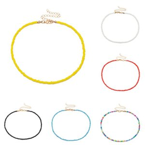 Wholesale rainbow choker necklace resale online - Bohemian Handmade Rainbow Beads Choker Necklace Women Fashion Jewelry Necklaces Boho Candy Color Bead Satellite Chokers