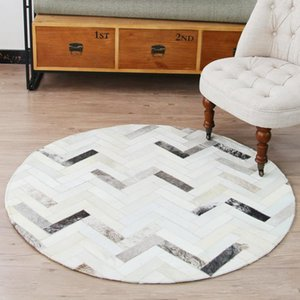 Wholesale cowhide rugs for sale - Group buy Round Shaped Natural Cowhide Beige And Gray Striped Patchwork Rug genuine Cow Skin Fur Carpet Decoration Floor Mat Carpets