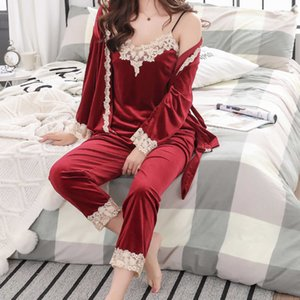 Wholesale sleep coats for sale - Group buy Pyjamas Women Sleep Tops Sets Women s Veety Pajamas Nightgown Suspender Coat Pant Sexy Home Clothes piece Pizama Damska