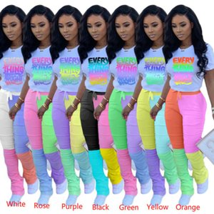 Wholesale strip outfits resale online - Women Tracksuits Desinger Two Piece Outfits Set Sports Strip Micro Flared Leggings Zipper Top Stacked Pants Jogging Suit