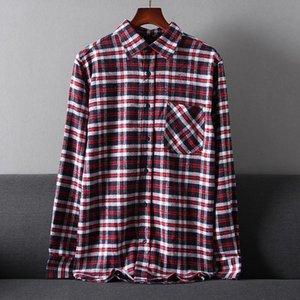 Wholesale plaid flannel fabric for sale - Group buy Plus Size Autumn Men Fashion Loose Single Breasted Flannel Fabric Cotton Blended Casual Plaid Shirt Men s Shirts