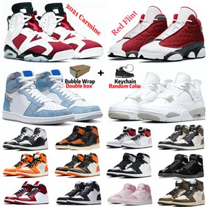 Wholesale white basketball shoes for sale - Group buy with box s basketball shoes men red fint Hyper Royal s University Blue Raging Bull s White Oreo s Carmine women sneaker trainer