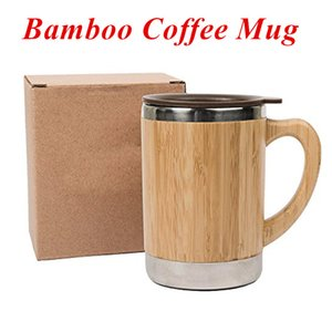 Wholesale coffee travel mug for sale - Group buy Stainless Steel Bamboo Coffee Mugs with Handle and Lids Camping Coffee Mugs Eco Friendly Insulated Coffee Tea Travel Mugs