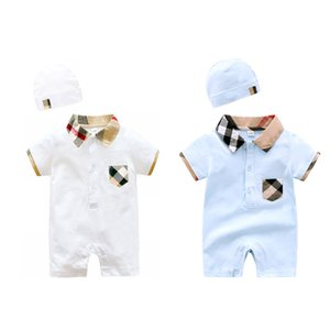 Wholesale newborn boys outfits for sale - Group buy Newborn Baby Boy Summer Clothes Romper Light Blue Short Sleeve Cotton Jumpsuit Outfits Infant Baby Clothing