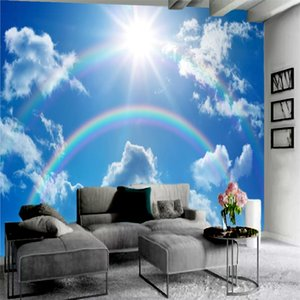 Wholesale wallpaper rainbow for sale - Group buy 3d Wallpaper Blue Sky White Clouds Beautiful Rainbow Romantic Landscape home Garden Custom Pattern And Size Decoration Silk Interior Sticker Painting
