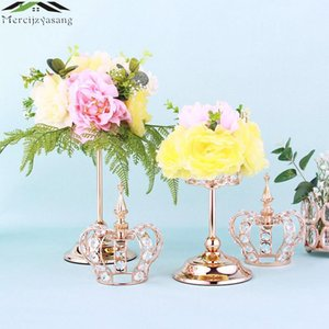 Wholesale wedding candelabra candlestick holders resale online - 10pcs Metal Candle Holders Candelabra Table Centerpiece Flower Vase Crown Candelabrum Stand Pillar Candlestick For Wedding G044