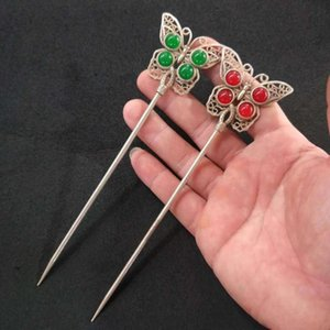 Wholesale rubies bangles for sale - Group buy Antique Ruby Green Jade Tibetan Silver Inlaid Jewel Butterfly Hairpin Bangle