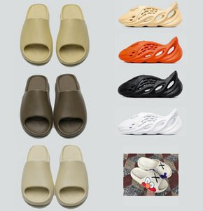 Wholesale sneaker heels for sale - Group buy With Box Slippers kanye west sandals shoes triple black white slides sock bone resin desert sand earth brown men womens slipper sneakers
