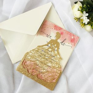 Wholesale shower inserts for sale - Group buy Laser Cut Wedding Invitations Card Hollow Bride Invite With Pearl Paper Inserts And Envelope For Bridal Shower Engagement Greeting Ca