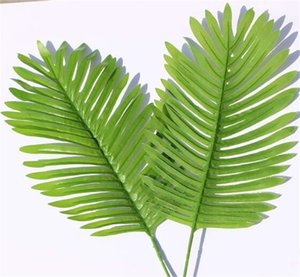Wholesale tree flowers resale online - Artificial Tropical Palm Leaves Fake Plants Faux Large Palm Tree Leaf Green Greenery for Flowers Arrangement Wedding Home Party Decor V2