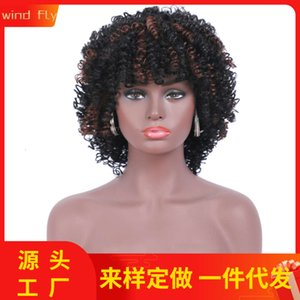 Wholesale wig pigtails for sale - Group buy wigs Pigtail fashion wig full natural matte short curly head cover