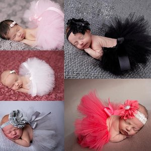 Wholesale baby clothing gift sets for sale - Group buy Flower Born Baby Tutu Skirt And Matching Headband Set Fluffy Girl Pography Props Shower Gift Clothing Sets
