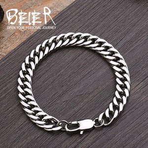 Wholesale chain link machine resale online - Beier Store mm mm Wide L Stainless Steel Bracelet Machine Knitting Chain BR C006 Link