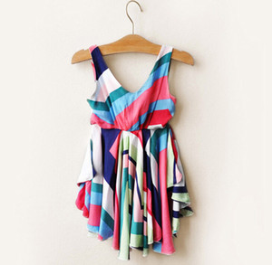 Wholesale Girls Rainbow Stripe Dress Vest Sleeveless Cotton One piece Dresses Fashion Kids Summer Skirt T