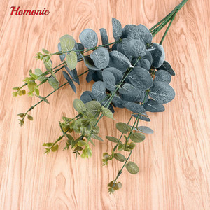 Wholesale Wedding Branches Eucalyptus Big Artificial Flower Silk Decoration Flower Rustic Artificial Leaves Cafe Office Room Decor P20 Flower