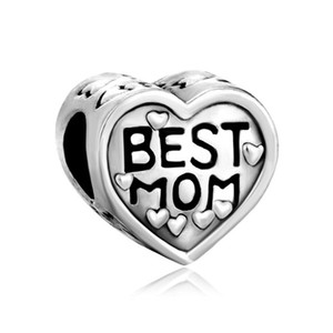Wholesale Metal Slider Rhodium Plating heart Love Best Mom Big Hole European Spacer Bead Fit Pandora Chamilia Biagi Charm Bracelet