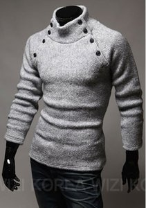 Wholesale New Korean Style Fashion Mens Spread Collar Design Solid Turtleneck Long Sleeve Sweater colors