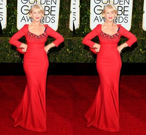 Wholesale 72nd Golden Globe Helen Mirren Long Sleeve Red Elegant Mermaid Bead Satin Evening Prom Party Celebrity Dresses