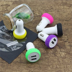 Wholesale motorcycle tires type car charger USB charger with led light USB v a charging head for iphone ipad android