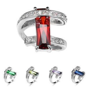 Wholesale Hot Unique Christmas Holiday Gift Fire Color Cubic Zirconia Crystal Gemstone Russia Sterling Silver Black Gold Wedding Rings