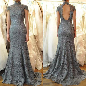Wholesale 2019 Tall Mother Of The Bride Dresses Sexy Mermaid Backless Capped Sleeves High Collar Gray Guipure Lace Formal Evening Gowns Plus Size