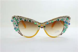 Wholesale Drop quality NEW summer yellow pattern frame multi color crystal UV plastic cat eye sunglasses