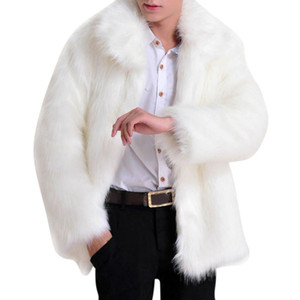 Wholesale- 2017 Solid Long Sleeve Artificial Fur Jacket Men's Faux Leather Luxury Jacket Parker Luxury Fur Coat Features Full Fur Trendy on Sale